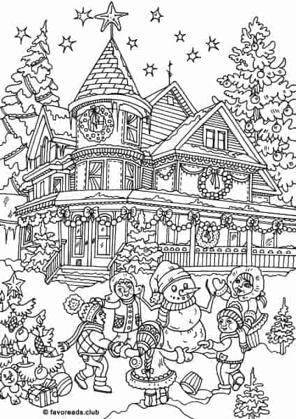 funny finished coloring book pages | Christmas Joy - Dancing in a Circle - Printable Adult ...