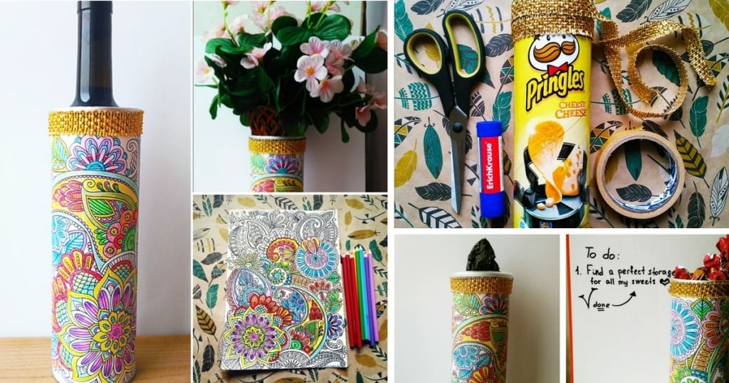 4 Insanely Fun and Easy Uses for Your Completed Coloring Page and a Pringles Can