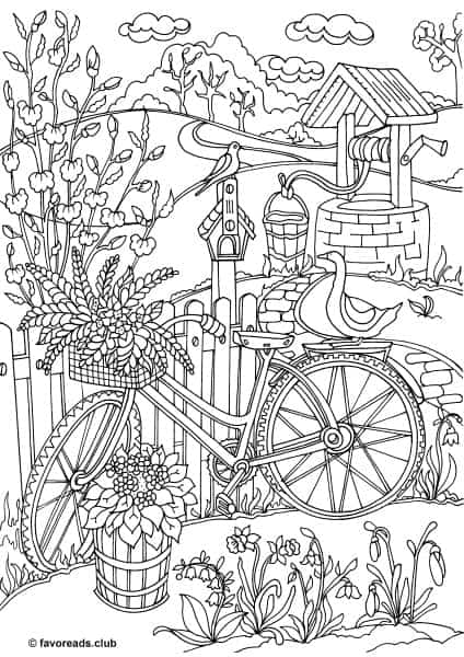 country spring bicycle printable adult coloring pages from favoreads. Black Bedroom Furniture Sets. Home Design Ideas