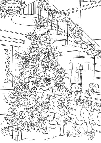 Cats and Dogs - Christmas Tree - Printable Adult Coloring ...