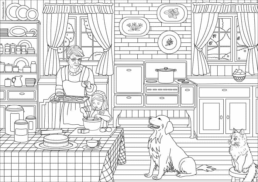 Country Spring Kitchen Printable Coloring Page