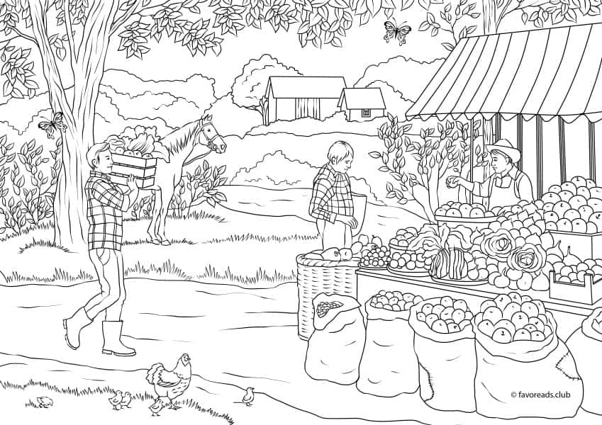 country spring country market printable adult coloring pages from favoreads. Black Bedroom Furniture Sets. Home Design Ideas