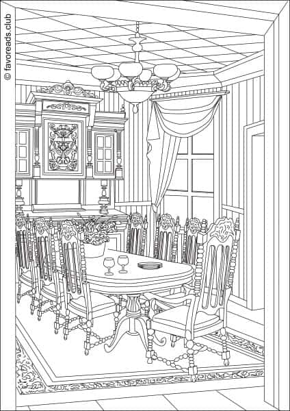 coloring pages simple living room - photo#37