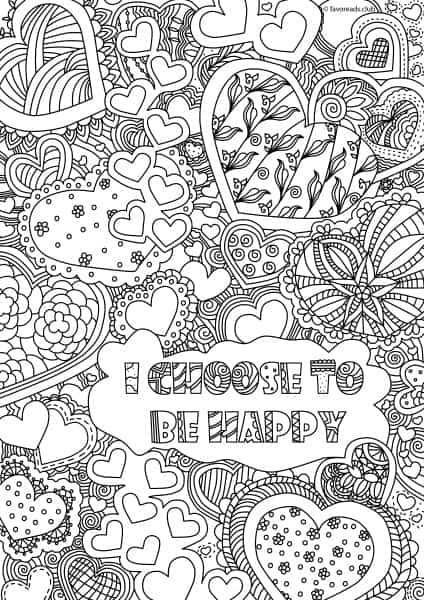 Inspirational messages i choose to be happy printable for Inspirational adult coloring pages