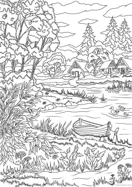 Country Spring Lake View Printable Adult Coloring