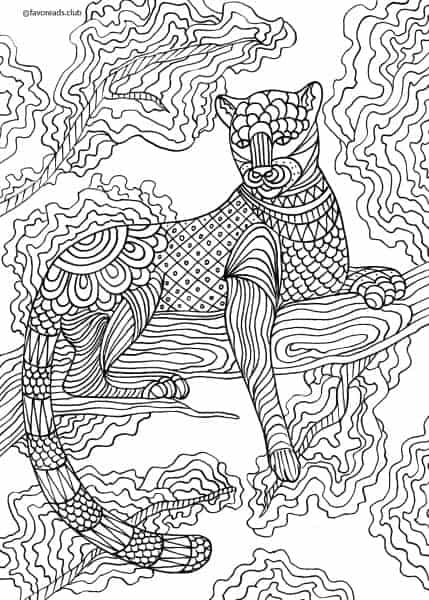 Animals and Birds Panther Printable Adult Coloring
