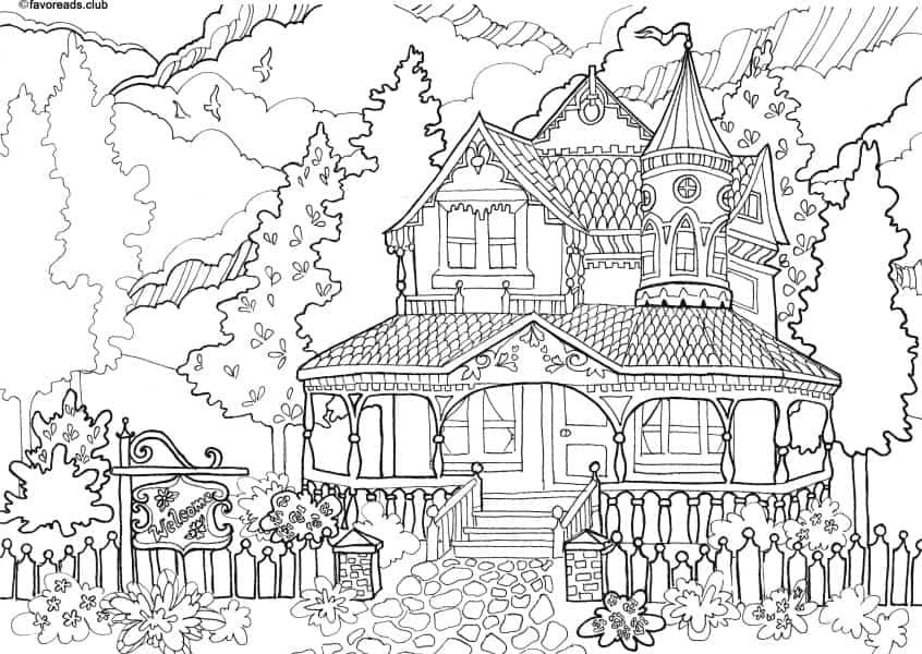 Printable Coloring Page Authentic Architecture