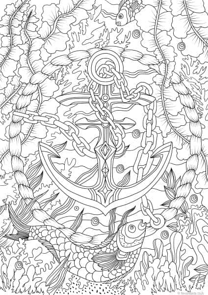 Ocean Life Anchor Printable Adult Coloring Pages From