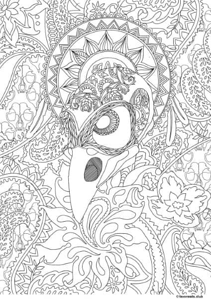 Horror scenes crow printable adult coloring pages from Horror coloring book for adults