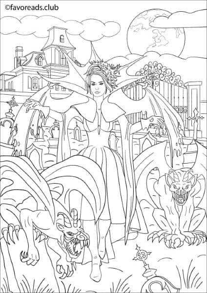 Horror scenes devil lady printable adult coloring Horror coloring book for adults