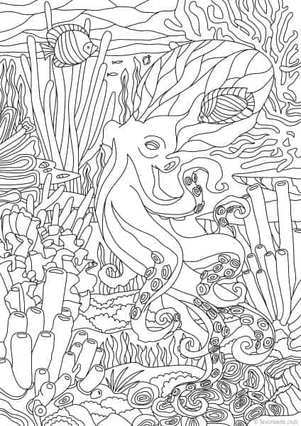 Ocean Life Octopus Printable Adult Coloring Pages From