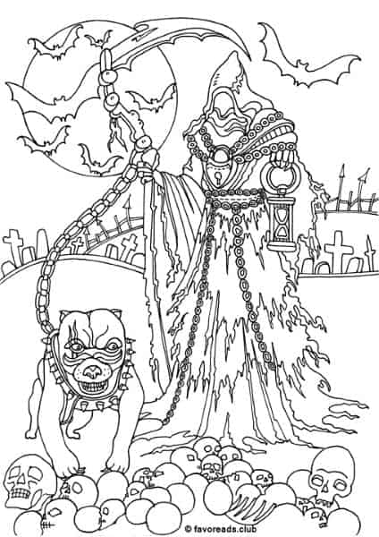 Horror scenes reaper printable adult coloring pages Horror coloring book for adults