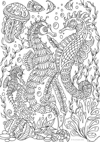 Sea Life Coloring Pages Ocean Life Sea Horses Printable Adult Coloring Pages