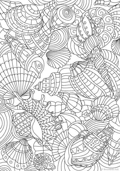 funny finished coloring book pages | Ocean Life - Shell Pattern - Printable Adult Coloring ...