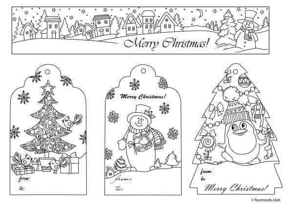 christmas joy christmas tags and bookmark