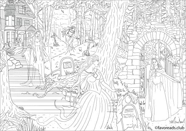 Horror scenes ghosts printable adult coloring pages Horror coloring book for adults