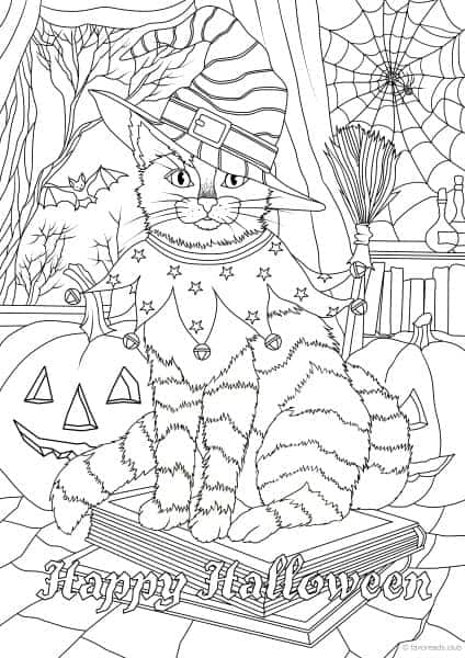 Holidays Halloween Cat Printable Coloring Page