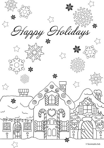 christmas joy happy holidays printable coloring page