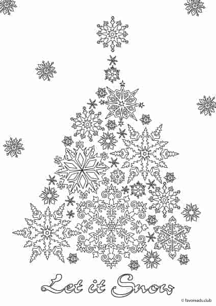 Christmas Joy Let it Snow Printable Adult Coloring