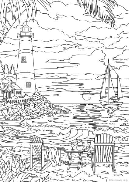 Ocean Life Lighthouse Printable