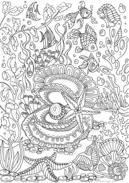 Ocean Life Ocean Pearl Printable Adult Coloring Pages