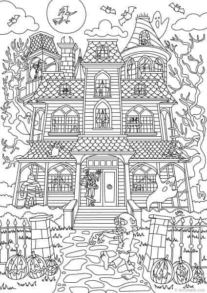 Holidays Scary House Printable Adult Coloring Pages