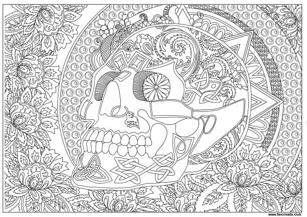 Horror scenes sugar skull printable adult coloring Horror coloring book for adults