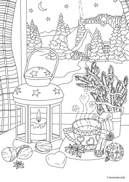 coloring pages christmas winter   Christmas Joy - Winter Night - Printable Adult Coloring ...