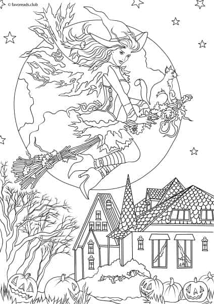 Horror Scenes Witch Printable Adult Coloring Pages