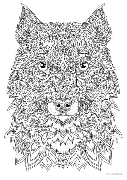 christmas wolf coloring pages | Wolf - Printable Adult Coloring Pages from Favoreads