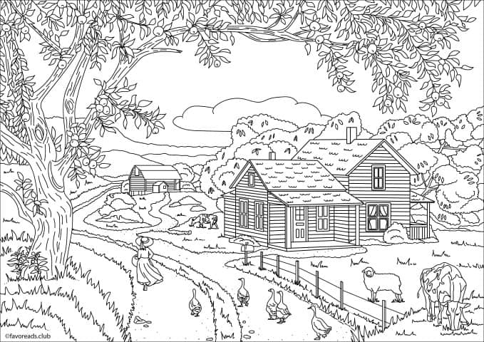 Country Spring A Walk In The Fields Printable Adult Coloring
