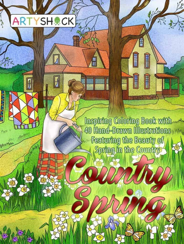 Country Spring: Inspiring Coloring Book with Hand-Drawn Illustrations Featuring The Beauty of Spring in the Country