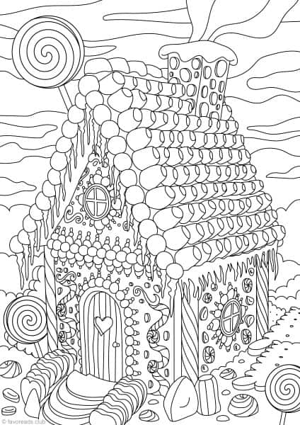 Gingerbread house printable adult coloring pages from for Gingerbread house coloring pages
