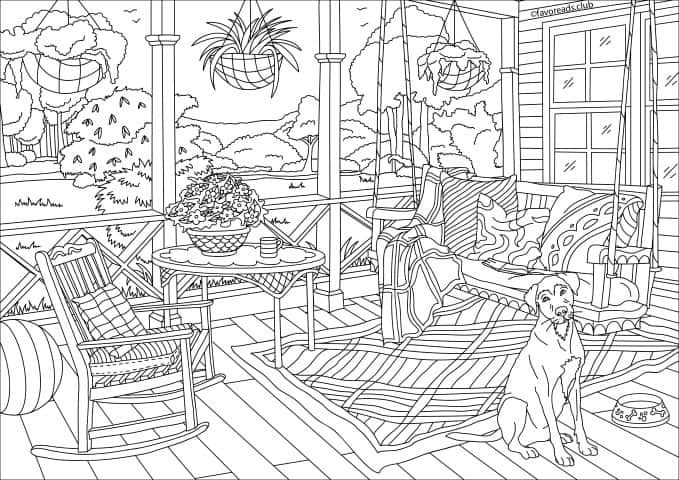 Country Spring - Porch - Printable Adult Coloring Pages ...