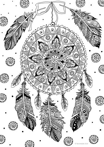 Dream Catcher Printable Adult Coloring Pages From Favoreads
