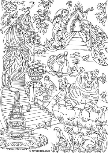 The Land of Fantasia - Fantasy Garden - Printable Adult Coloring Pages from Favoreads
