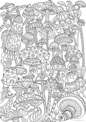 Mushrooms Printable Adult Coloring Pages From Favoreads