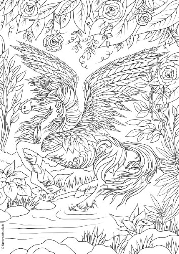 The Land of Fantasia Pegasus Printable Adult Coloring