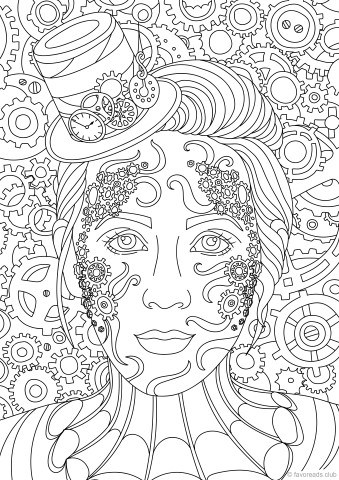 Steampunk lady printable adult coloring pages from favoreads Steampunk animals coloring book