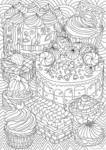 Sweet Treats Printable Adult Coloring Pages from Favoreads