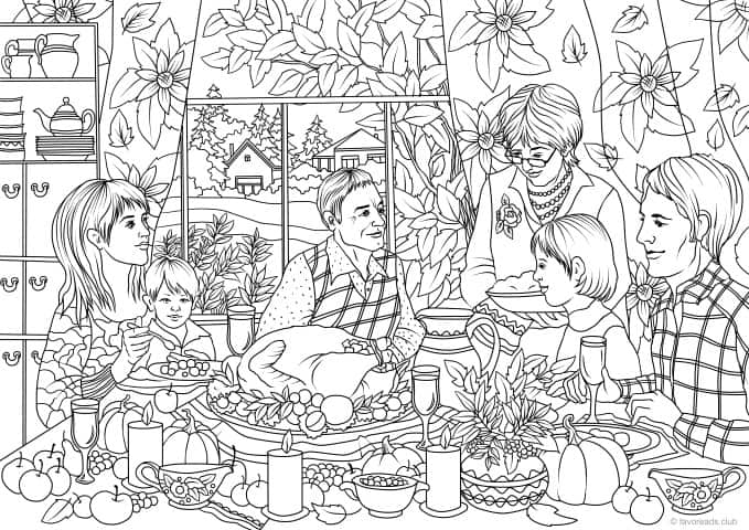 Thanksgiving Family Dinner - Printable Adult Coloring ...