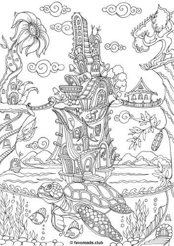 The Land Of Fantasia Turtle Printable Adult Coloring