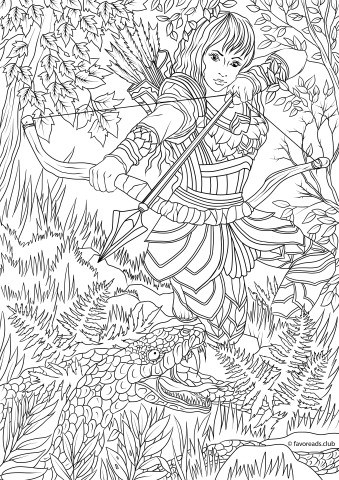 The Land Of Fantasia Woman Warrior Printable Coloring Page