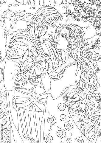 Fantasia Fantasy Romance Printable Adult Coloring Pages from