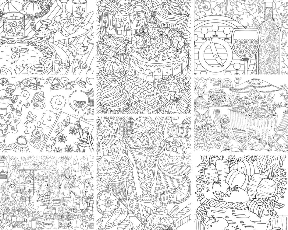 Food and Drinks - 10 Coloring Pages