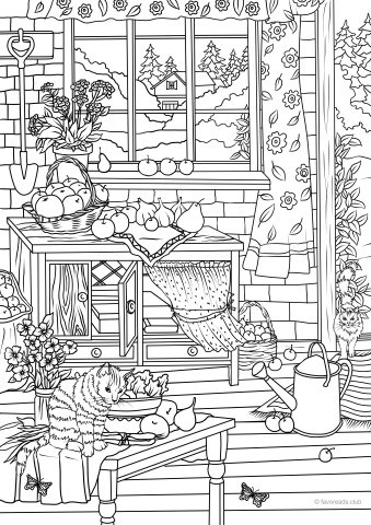 Ocean Life Sunken Ship Printable Coloring Book Pages