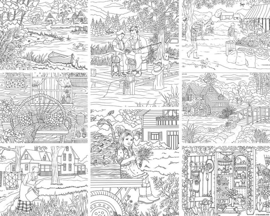 Country Spring - 10 Coloring Pages