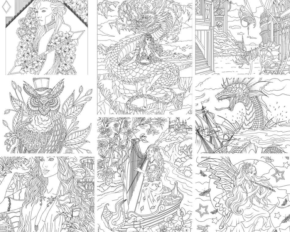 Fantasy World - 10 Coloring Pages