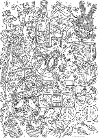 Groovy 70s Printable Adult Coloring Pages From Favoreads