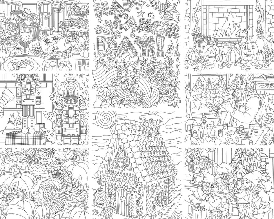 Holidays - 10 Coloring Pages